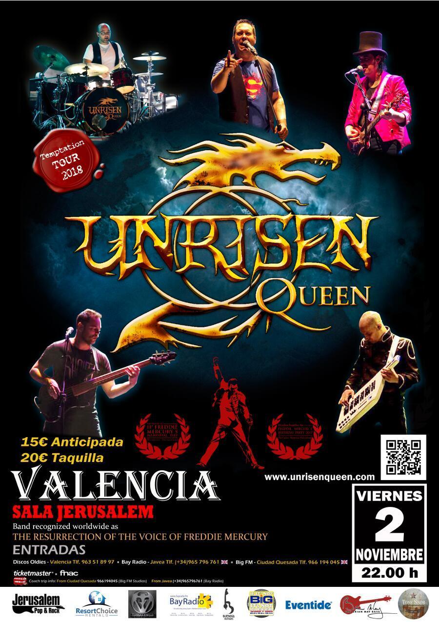 Unrisen Queen Concert Posters - Valencia 2018 (nov)